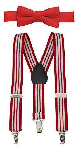 Hold'Em Suspender and Bow Tie Set for Kids, Boys, and Baby -Red Striped 22