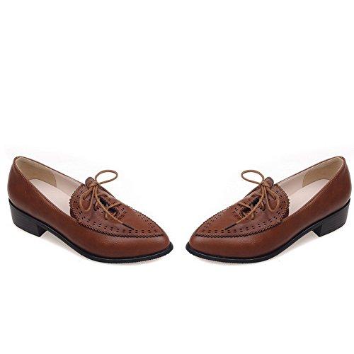Balamasa Ladies Fasciatura Scava Fuori Modello Leopardo Imitato Pumps-shoes In Pelle Marrone