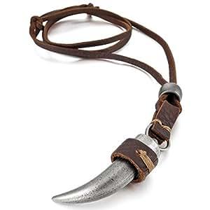 MunkiMix Aleación Genuina Cuero Colgante Collar El Tono De Plata Lobo Diente Tribal Ajustable 16~26 Pulgada Cadena Hombre ,Cadena