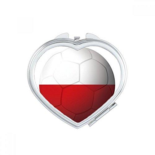 DIYthinker Poland National Flag Soccer Football Heart Compact Makeup Mirror Portable Cute Hand Pocket Mirrors Gift by DIYthinker