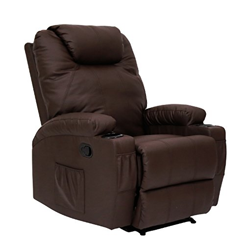 Peach Tree Recliner Massage Sofa Chair Deluxe Ergonomic Lounge Couch Heated W/Control and Cup Holder (Brown)