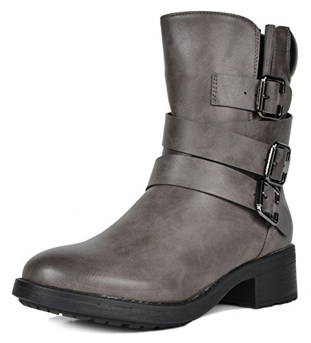 DREAM PAIRS Women's Strappy Grey Faux Fur Mid Calf Riding Combat Boots Size 11 M US