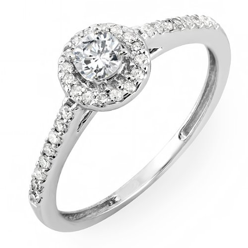Dazzlingrock Collection 0.50 Carat (ctw) 18k Round Cut Diamond Ladies Engagement Bridal Halo Ring 1/2 CT, White Gold, Size 7 ()