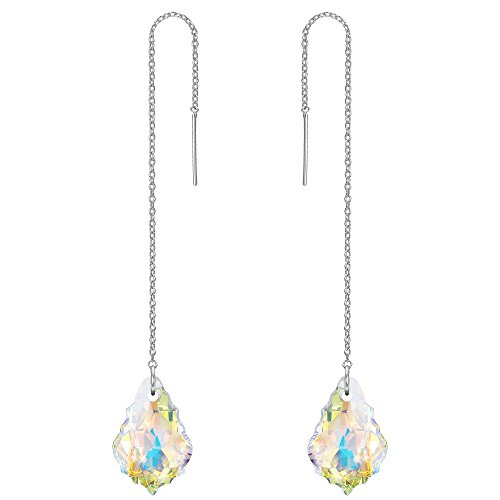 Design Clear Swarovski Crystal Ring - FANZE Women's 925 Sterling Silver Long Baroque Drop Threader Slide Earrings Clear AB Made with Swarovski Crystal Silver-Tone
