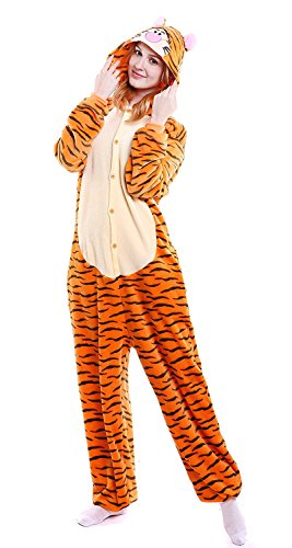 To 6x Plus Costumes Up Size (YACHUN Adult Unicorn Pajamas Animal Costume Cosplay Onesie Halloween Gift Tigger)