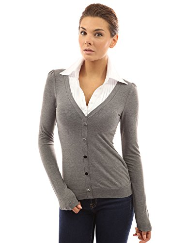 PattyBoutik Women's Shirt Collar Pleated 2 in 1 Top (Gray M)