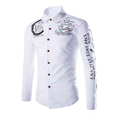 KLGDA Mens Long Sleeve Slim Fit Casual Printed Button Down Dress Shirt Quick Dry UV Protection Hiking Fishing Shirts White