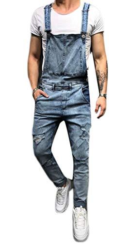 [해외]남자의 데님 턱 받이 바지 패션 찢어진 청바지 슬림 죄수 복 / Men`s Denim Bib Overalls Fashion Ripped Jeans Slim Jumpsuit