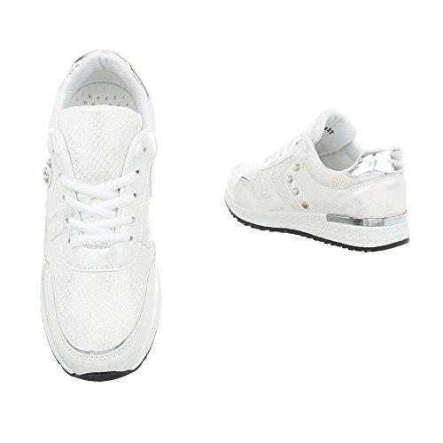 Ital-Design Low Top Sneakers Damenschuhe Kinderschuhe Fashionsneaker Freizeitschuhe Weiß P-19