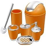 6 Piece Bathroom Accessories Set,Plastic Bath Ensemble Bath Set Lotion  Bottles, Toothbrush Holder, Tooth Mug, Soap Dish, Toilet Brush, Trash Can ( Orange)