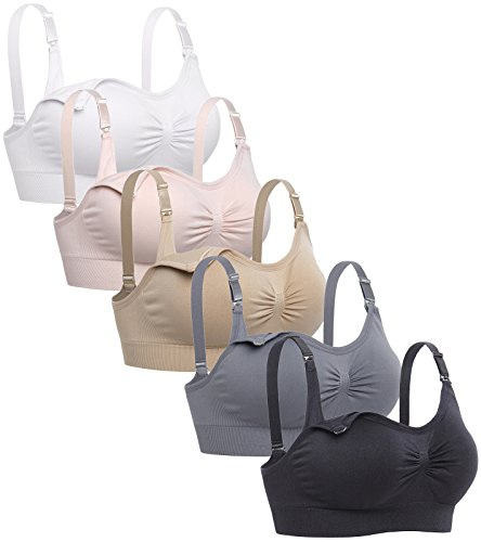 Lataly Womens Sleeping Nursing Bra Wirefree Breastfeeding Maternity Bralette Color Pack of 5 Size L