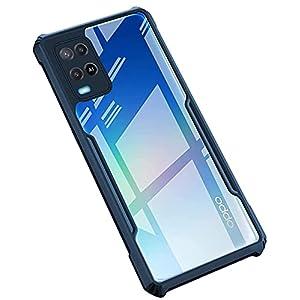Dervin Back Cover Case for Oppo A54 Shockproof | Crystal Clear | Hybrid TPU & PC | Transparent Back (Black Bumper)