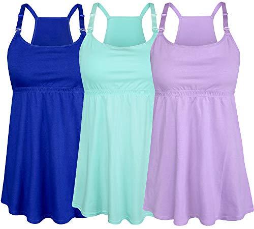 SUIEK Women's Nursing Tanks Maternity Tops Racerback Breastfeeding Cami Bra Shirt (Small, Mint Green + Blue + Violet (Fourth Style))