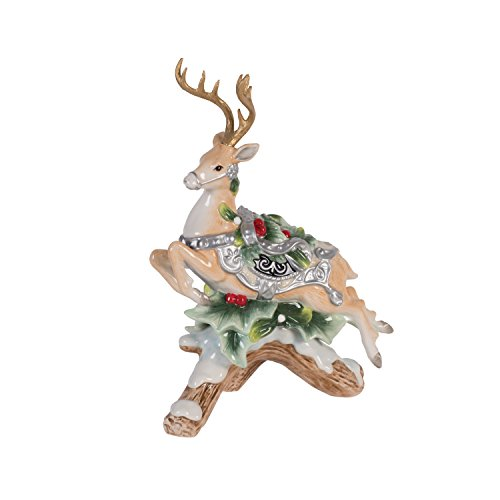 Fitz and Floyd Candleholder Bristol Holiday Deer Upward Leap Candle Holder