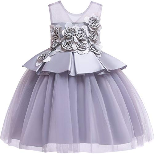 Dresses Wedding Party Princess Dresses Baby Girls First Communion Layered Tutu Dresses,Gray,10 -