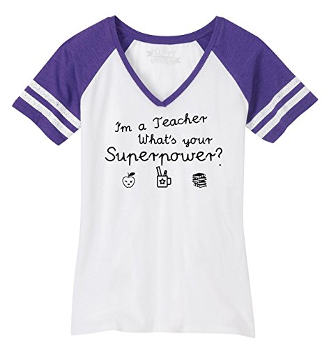 Comical Shirt Ladies Im A Teacher Whats Your Superpower Game V-Neck Tee