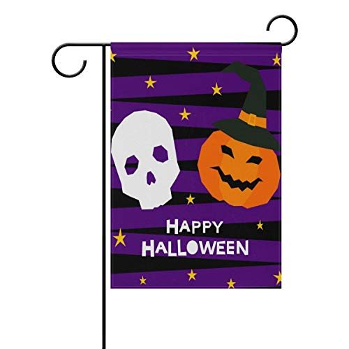 Decorative Happy Halloween Skull Pumpkin Garden Yard Flag Banner for Outside House Flower Pot Double Side Print -