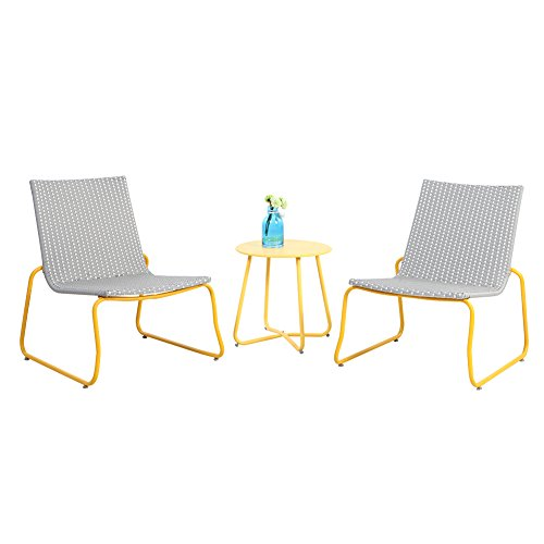 Grand patio Belfort 3-Piece All Weather Rattan Wicker Bistro Set - Yellow by Grand patio
