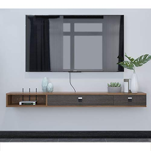 Floating Shelf Wall Mounted TV Stand Shelf Rack Cabinet Media Entertainment Console Gaming Shelving Unit with 3 Drawers Home Furniture (Color : Gray+Brown) (Tv Console Unit Wall)