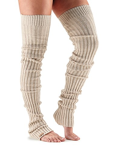 ToeSox Women's Thigh High Ribbed Knit Warmers (Ivory) One Size