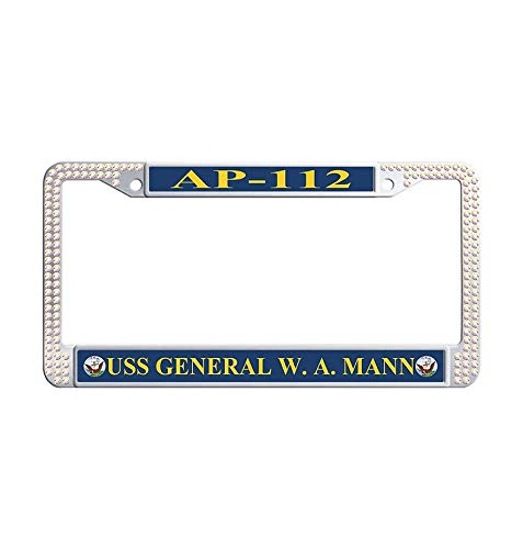 Hensonata Shining Rhinestones USS General W. A. Mann AP-112 Auto License Cover Holder for Car, Hippie Sparkle Bling Rhinestone Crystal Waterproof Auto License Plate Frame with Screws & Caps(Colorful) ()