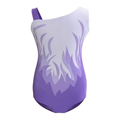 Starry Girls Sparkly Gymnastics Ballet Dancewear Leotards 5-14Years Training Costumes (9-10Y, Purple)