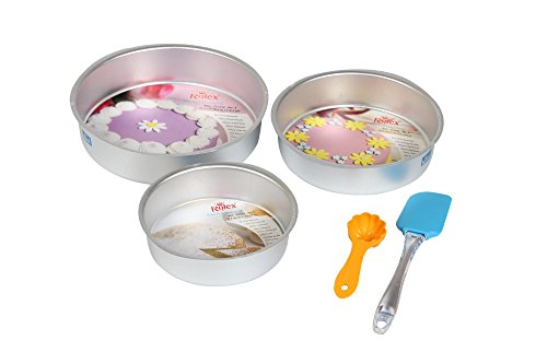 Rolex 5 Pc Set Aluminium Cake Mould Round + Spatulla + Scoop + 3 Free Cake Recipe