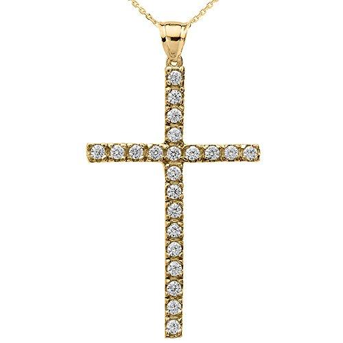 Collier Femme Pendentif 10 Ct Or Jaune Oxyde De Zirconium Croix (Livré avec une 45cm Chaîne)