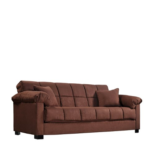 Amazon.com: Handy Living Maurice Pillow Top Arm Convert A Couch In Crimson  Microfiber: Kitchen U0026 Dining