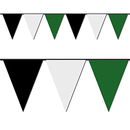 Ziggos Party Black, White and Green Triangle Pennant Flag 100 Ft. -
