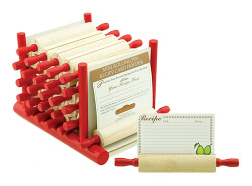 Mountain Woods 24 Piece Rolling Pin Recipe Card Holder Set w/ Display by Mountain Woods