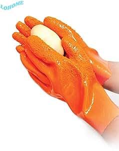 LOHOME® Pair of Waterproof Tater Mitts Potato Peeling Gloves Anti-slip Gloves Vegetable Peeling Stripper Gloves Kitchen Assistant Household Cleaning Gloves (Orange)