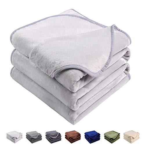 Emonia Luxury Fleece Blanket,330GSM - Queen Size Blankets Super Soft Warm Fuzzy Lightweight Bed & Couch Blanket(Silver Grey,90 x 90 inch)