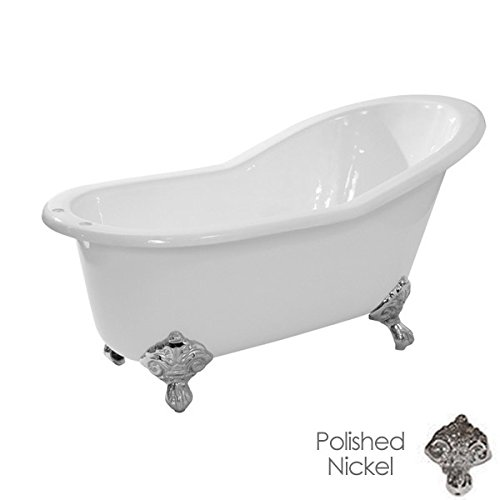Randolph Morris 62 Inch Cast Iron Slipper Flat Rim Clawfoot Tub Rim Drillings - Imperial (Clawfoot Tub Rim)