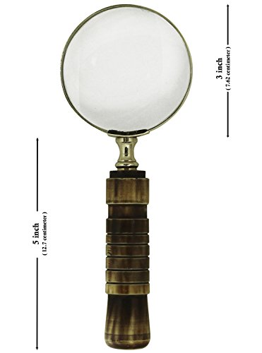 SouvNear Magnifying Glass/Lens in Golden Brass & Natural Bone - Handheld Magnifier/Nautical Device/Vintage-Look (Collectible Handheld Magnifier)