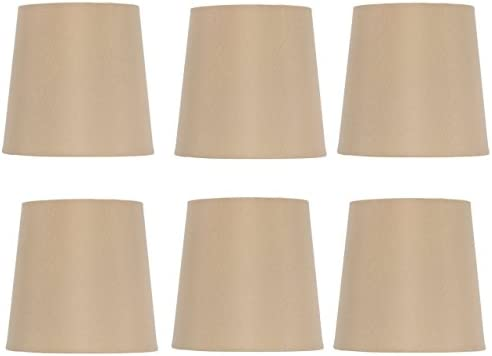 Upgradelights 5 Inch Retro Drum Clip On Chandelier Lamp Shades in Antique Gold Silk Set of Six 4x5x5