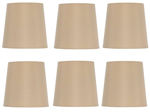 Upgradelights 5 Inch Retro Drum Clip On Chandelier Lamp Shades in Antique Gold Silk (Set of Six) 4x5x5