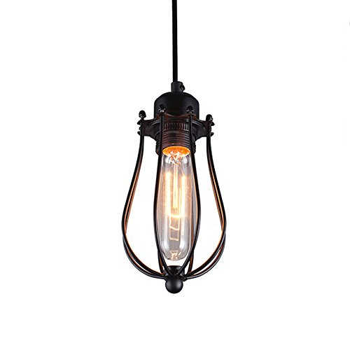 Wrought Iron Bronze Hanging Chandelier - Pendant Light, MKLOT Ecopower Edison Minimal Vintage Retro Style Wrought Iron Hanging Lamps Oil Rubbed Bronze Wire Caged Chandelier Creative Lighting Fixture