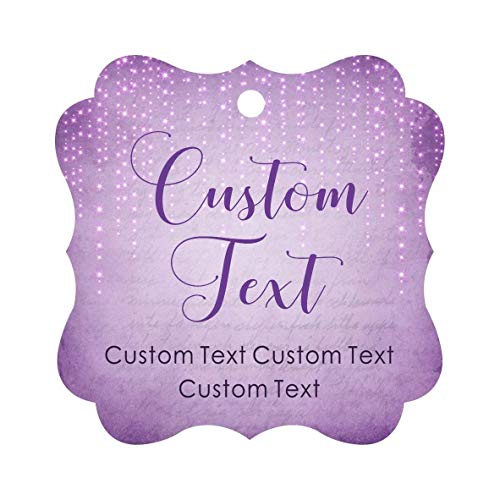 Darling Souvenir Personalized Paper Hang Tags Custom Text Wedding Party Gift Favor Tags -Stary Mauve Purple-100 Tags
