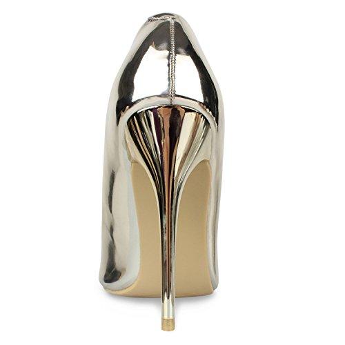 Stiefelparadies Spitze Damen Pumps Lack Stiletto High Heels Metallic Party Schuhe Glitzer Abendschuhe Hochzeit Hochzeitsschuhe Flandell Gold