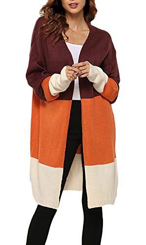 Donna Donna Donna Arancia Cappotto A Autunno Colori Colori Colori Colori Lunga A Sciolto Maglia Invernali Huixin Cucitura Cardigan Lunga Calda Comodo Maglia Manica Tunica Pullover Giacca Casuale w1q55UnAt7
