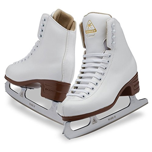 Jackson Ultima Excel JS1290 White Womens Ice Skates with Mark II blades, Width C, Adult 8