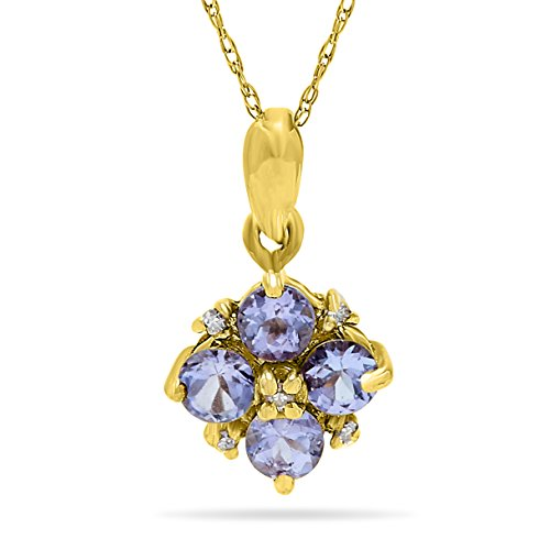 14K Yellow Gold Tanzanite and Diamond Flower Pendant Necklace, 18 Inch ()