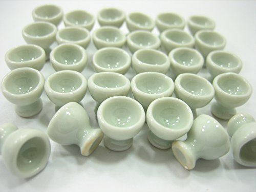 (Dollshouse Miniatures Ceramic 30 White Egg Cup Boiled Egg Ice Cream Supply 12603)