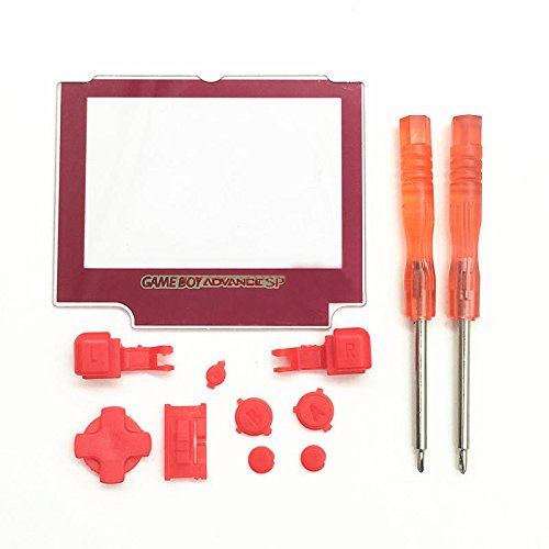 Replacement A B Buttons Keypads D Pads Buttons Screen Lens With Screwdriver For Nintendo Gameboy Advance SP GBA-SP (Red)