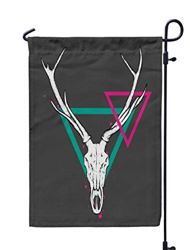 GROOTEY Welcome Outdoor Garden Flag Home Yard Decorative 12X18 Inches Skull Deer Horns Poster Tattoo Print Clothes Vintage Retro Tribe Postcard Double Sided Seasonal Garden Flags]()
