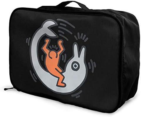 トラベルポーチ アレンジケース キース ヘリング 旅行収納バッグ 衣類収納バッグ 収納専用ポーチ 手提げ 短期出張 多機能 ファスナー 収納便利グッズ 軽量 大容量 便利 ビジネス 海外旅行 整理用