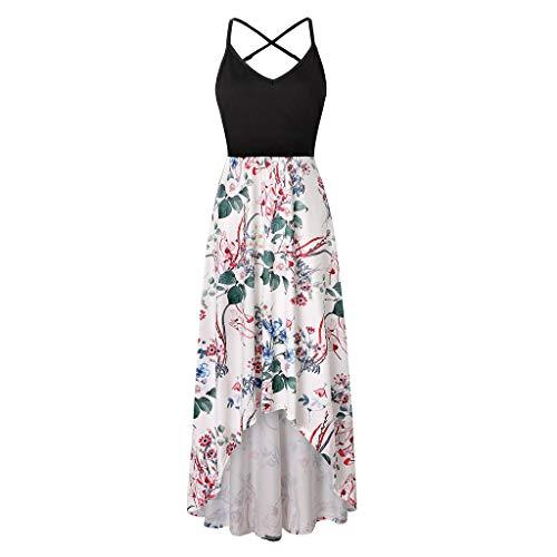 - Londony❀♪ Women's Summer Striped Print Maxi Dress Contrast Sleeveless Tank Top Floral Print Long Maxi Dresses Dark Blue