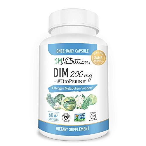 DIM Supplement 200mg – DIM Diindolylmethane Plus BioPerine 60-Day Supply of DIM for Estrogen Balance, Hormone Menopause…