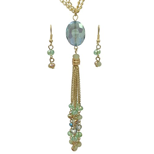 (Long Glass Beaded Tassel Necklace & Dangle Earring Set (Green & Brown Gold Tone))